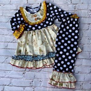 Boutique Girls Dots & Bears 2pc Ruffle Outfit